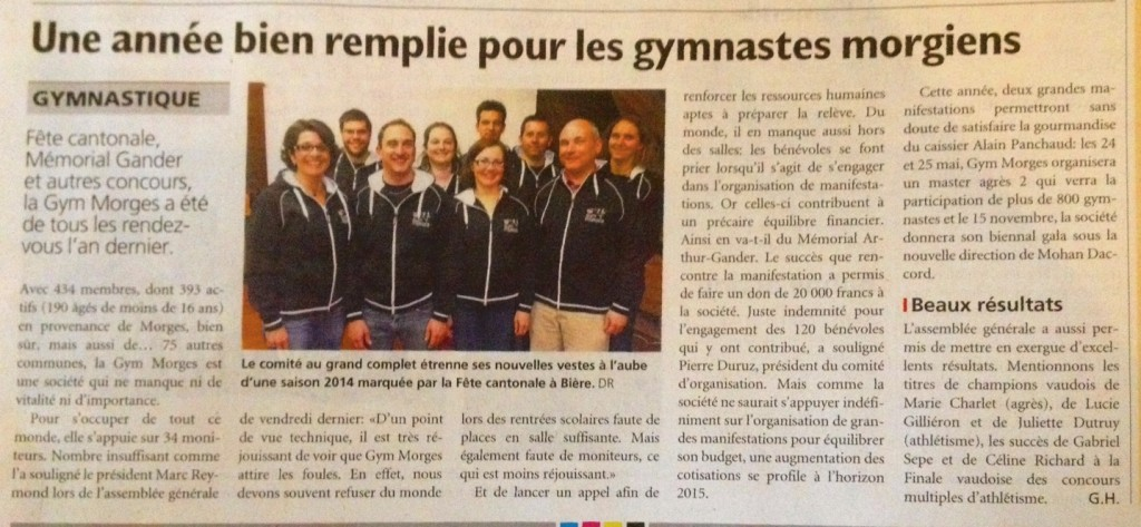 article AG 2014Journal Morges